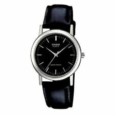 Casio Men's Black Leather Strap Watch, Black Dial, MTP1095E-1A