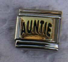 """AUNTIE ON GOLD""-ITALIAN 9MM CHARM-PARENTS SISTER, UNCLE'S WIFE, NIECE, NEPHEW"