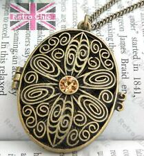 FILIGREE 4cm big OVAL LOCKET NECKLACE champagne rhinestone CRYSTAL vintage brass