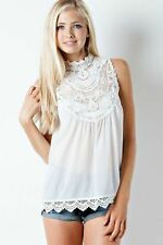 Women Lace Hollow Vest Sleeveless Shirt Blouse Summer Casual Loose Tops[White]