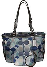 2 Piece COACH 15301 Gallery Scarf Print Tote & Wristlet Set Blue/Multi Pre-owned