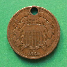 1865 Two Cent Piece Civil War era USA historical copper type coin SNo42225