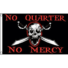 No Quarter No Mercy Flag 5Ft X 3Ft Pirate Jolly Roger Halloween Banner New