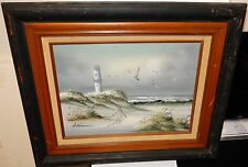 ANTONIO WHITE SANDS LIGHTHOUSE SEASCAPE OIL ON CANVAS PAINTING