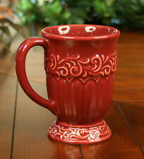 DRAKE DESIGN SET OF FOUR (4) CERAMIC MUGS CUPS TUSCAN SCROLL BERRY RED NEW