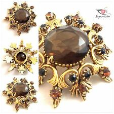 Vintage Florenza Brooch With Amber And Black Crystals Beautiful Art Deco Pin 2""