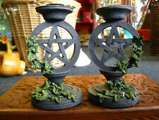 PENTAGRAM CANDLESTICK CANDLE HOLDERS PAIR Pentacle PAGAN ALTAR Fantasy GOTHIC