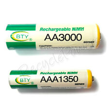 2 AA + 2 AAA 3000mAh 1350mAh rechargeable battery NiMH 2A 3A LR06 LR03 BTY Green