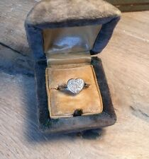 10kt Pave Diamond Heart Ring Vintage