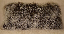 Real Mongolian  Tibet  Lamb   Brown 2 Tone Fur Pillow New  made in usa cushion