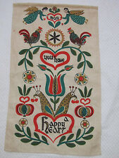 60s VTG LINEN TEA TOWEL Unused PA Folk Angel Rooster MAY YOU A HAVE HAPPY HEART