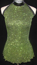 BLACK W/ GREEN SPARKLE Ice Figure Skating Dress GIRLS SMALL 7 / 8