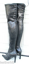 "RUBBERY LEATHER CROTCH / THIGH BOOTS -  PVC   27""  BACK ZIP and LACE"