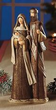 Holy Family Nativity Sculpture cold cast ceramic like handmade wood 12x5x3 NIB
