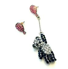 E958 Betsey Johnson Rhinestone Crystal Gem Panda Animal Balloon Earrings US
