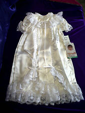 New ELEGANT White Satin Christening or Baptismal Gown Bonnet & Slip 0-3 months