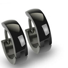 Stainless Steel Plain Rounded Black Huggie Cuff Earrings (Men or Women)