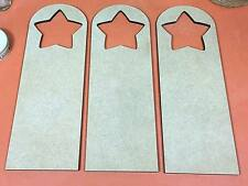 WOODEN MDF DOOR HANGERS (STAR SHAPED HOLE) 20cm (x3) Wood Shapes crafts sign