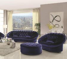 Blue Velvet Fabric Modern 3Pcs Sofa Set Long Sectional, Chair Sofa Living Room