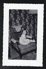 Antique Photograph Cute Little Girl Sitting in Chair Retro Room Crazy Wallpaper