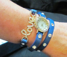 FASHION WRAP AROUND LOVE BRACELET QUARTZ WATCH BLUE NEW 22 INCH BAND BLING *READ