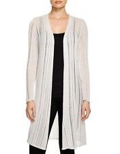 Eileen Fisher Open Front Linear Sleek Tencel Long Cardigan Bone Ivory L