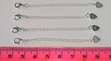 925 Extender/Extension Chain with Clasp and Heart x 2
