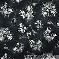 BonEful Fabric FQ Cotton Quilt Black Gray B&W White Skull Skeleton Guitar Gothic