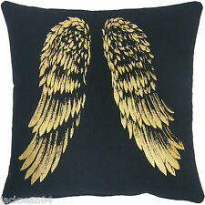 BLACK GOLD UNIQUE FUTURISTIC WINGS 100% COTTON CUSHION COVER 45.7cm 45CM