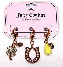 NEW $26 Tag JUICY COUTURE 3 GOLD Tone CHARMS 4 Leaf Clover HORSESHOE Yellow Bead