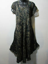 Dress Fits XL 1X 2X 3X 4X Plus Tunic Black with Gold Wash Lace Sleeves NWT G517