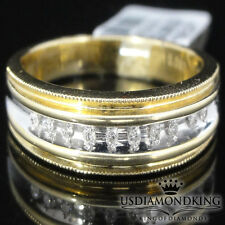 MEN HEAVY 10K TWO TONE 100% GOLD GENUINE REAL DIAMOND MILGRAIN WEDDING RING BAND