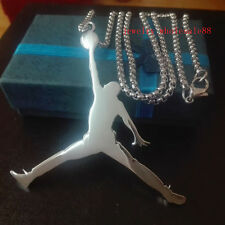 Big Jordan shape design Stainless Steel Charm Pendant Necklace 24'' Rolo Chain