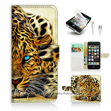 iPhone 5 5S Print Flip Wallet Case Cover! Blue Eye Leopard P0354
