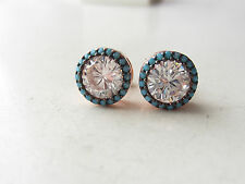 NEW ROSE GOLD PLATED TURQUOISE TOPAZ 925K STERLING SILVER STUD EARRINGS HANDMADE