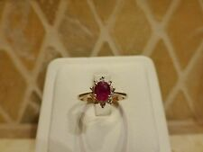 Estate signed 14k yellow gold oval natural red ruby diamond halo ring engagement
