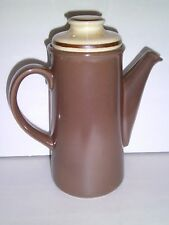 "Palissy England Mid Century Modern COFFEE POT 10"" Brown Stoneware Pottery"