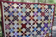 New  Quilt Top only  King Queen Pieced 100% Cotton  Vibrant stepping stones