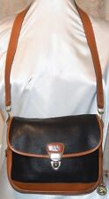 DOONEY & BOURKE AWLEATHER VINTAGE FLAP LOCK SHOULDER STR HANDBAG BLACK/TAN RARE