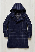 PLAC Window Check Navy Wool Duffel Coat Mens Large NWOT $630 Urban Outfitters
