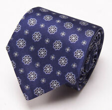 NWT $230 BRIONI Slim Satin Silk Tie Midnight Blue-Silvery Gray Floral Medallion