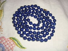 """Vintage Lapis Lazuli 37"""" Necklace 8mm Stunning Beads long and exquisite"""