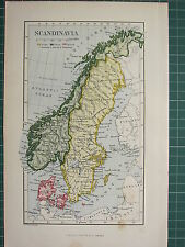 c1890 ANTIQUE MAP ~ SCANDINAVIA ~ SWEDEN NORWAY & DENMARK GOTLAND