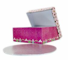 "Large Cake box 10"" with Board Birthday Party Presentation Baking Wedding Pink"