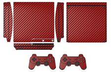 Red Carbon Fiber Skin Sticker for PS3 PlayStation 3 Slim and 2 controller skins