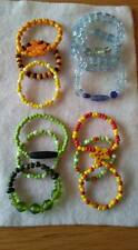 JL9 12 x KIDS/SMALL BRACELETS CERAMIC/WOODEN/SYNTHETIC BEADS ON ELASTIC SALE NEW