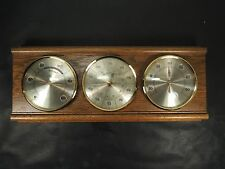 Vintage Classic Triple Dial Wood Wall Plaque Barometer Hygrometer Thermometer