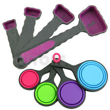 8pcs Silicone Measuring Cups Spoon Set Kitchen Tool Collapsible Baking Cooking