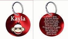 Personalized Custom Key ring chain Friend gift Sock Monkey There for you name