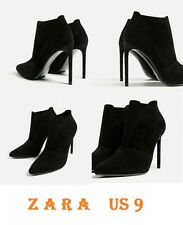 ZARA Elasticated High Heel Leather Ankle Boots New Black Elegant Boots Size Us 9